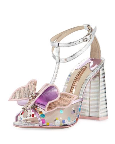 Lana Mesh Butterfly Block-Heel Sandal, Pink