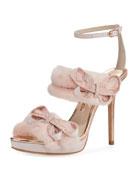 Bella Faux-Fur Ankle-Wrap Sandal, Pink