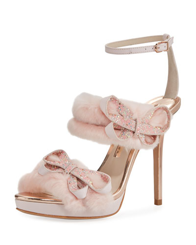 Faux-Fur Ankle-Wrap Sandal