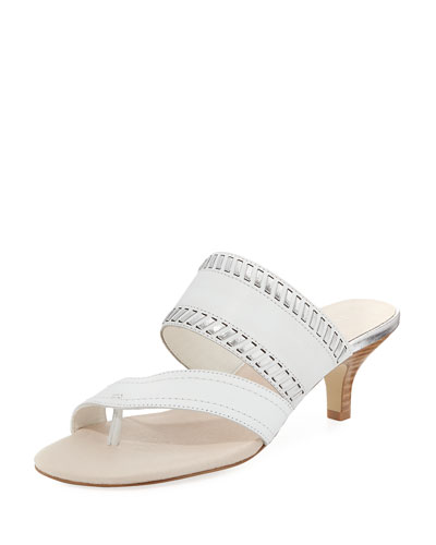 Ruge Whipstitch Kitten-Heel Slide Sandal, White Metallic