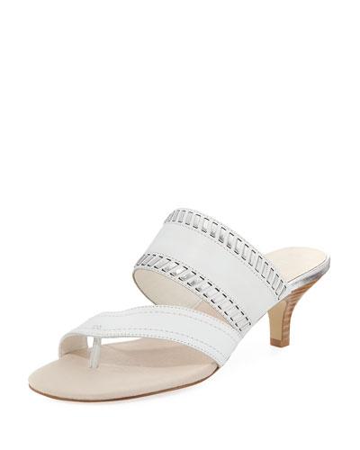 Ruge Whipstitch Kitten-Heel Slide Sandal, White Metallic