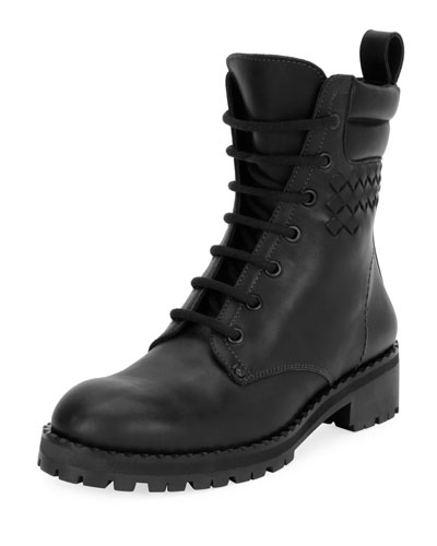 Leather Hiker Boot with Woven Detail, Black