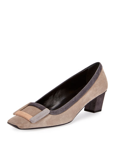 Belle Vivier Graphic Buckle Pump, Gray