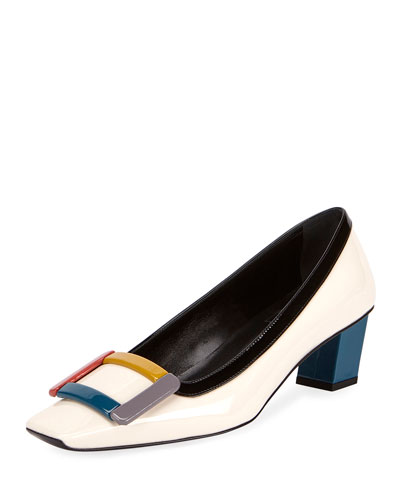 Decbelle Graphic Buckle Colorblock Pump, Multi