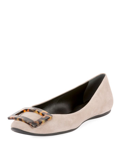 Gommette Turtle Buckle Suede Flats, Gray