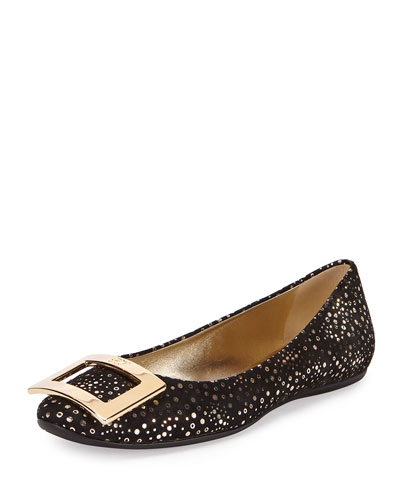 Gommette Metal Buckle Flat, Black/Gold