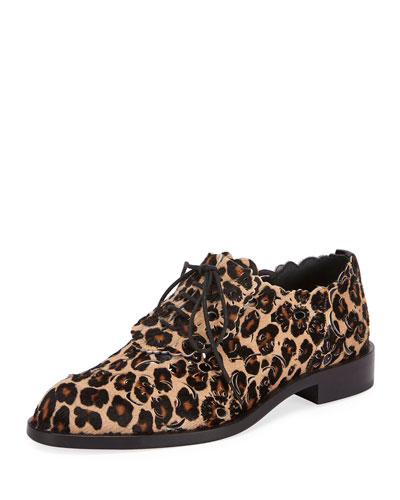 Laser-Cut Lace-Up Derby Oxford, Leopard