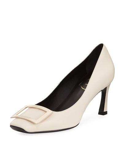 Belle Vivier Trompette Leather 70mm Pump, Off White