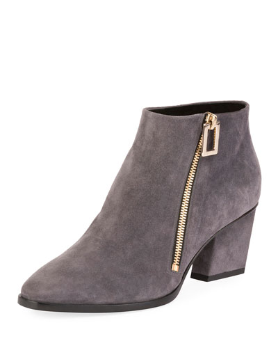 Skyscraper Suede Side-Zip Bootie, Gray