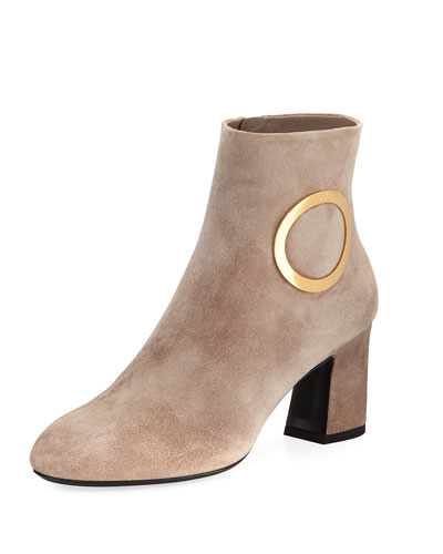 Suede Round Chunky-Heel Bootie