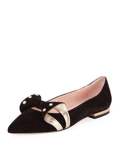 Lolita Pearl Ballerina Flat, Black/Gold