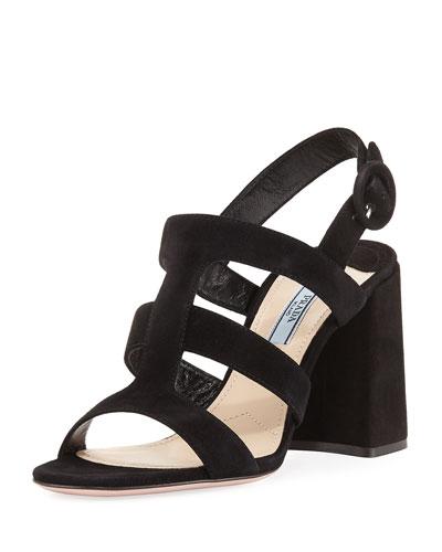 Strappy Suede Slingback Sandal, Black