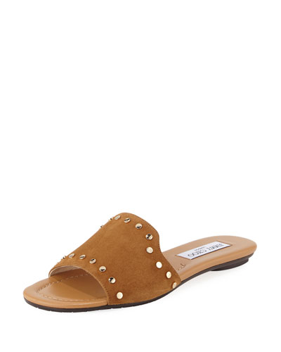 Nanda Studded Suede Flat Slide Sandal, Brown