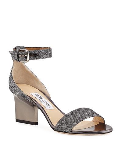 Edina Metallic Fabric Sandals, Gray
