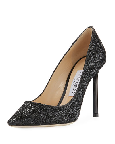 Romy Glitter Pointed-Toe 100mm Pump, Black