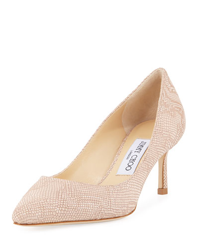 Romy Metallic Embossed Pump, Nude