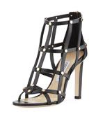 Tina Studded Leather Cage Sandal, Black