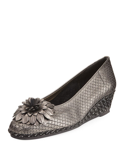 Mae Floral Wedge Espadrille, Pewter