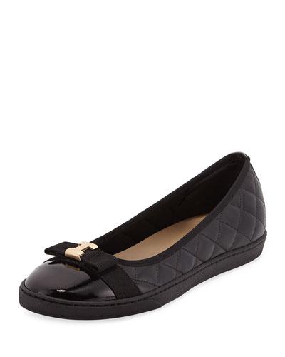 Fanya Quilted Ballerina Sneaker, Black