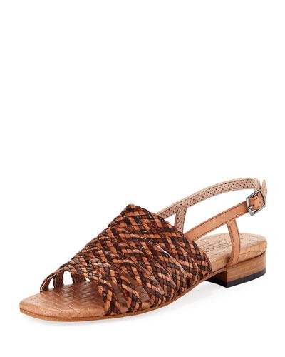 Goldie Woven Flat Sandal, Neutral Multi
