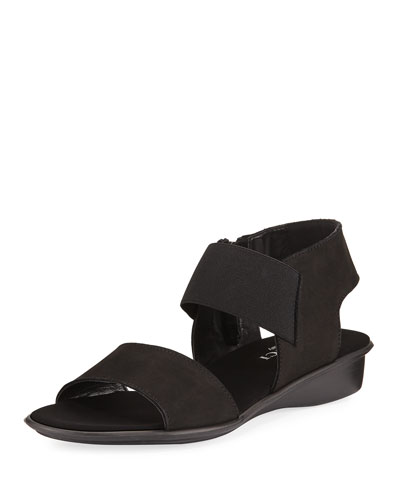 Elki Demi-Wedge Flat Sandal, Black
