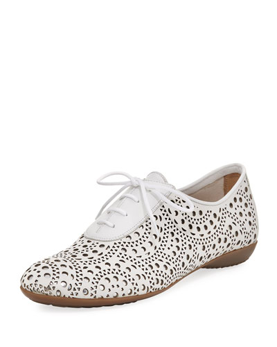 Betka Laser-Cut Oxford Sneaker, White Metallic