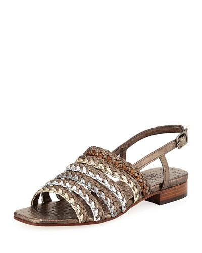 Goldie Woven Flat Sandal, Pewter Multi