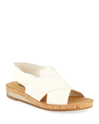 Sabita Demi-Wedge Flat Sandals, White
