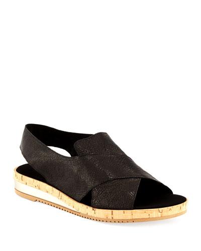 Sabita Demi-Wedge Flat Sandal, Black