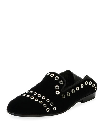 Flat Velvet Push-Down Loafer, Black