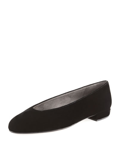 Chicflat Velvet Almond-Toe Flat, Black
