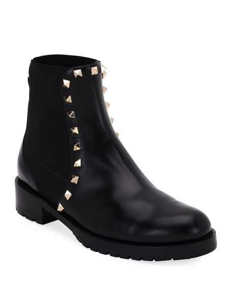 Valentino Garavani Rockstud Leather Boot, Black