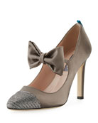 Prima Cap-Toe Bow Satin Mary Jane Pump, Gray