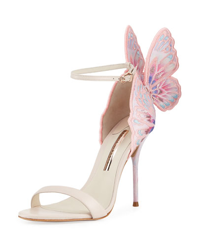 Chiara Embroidered Butterfly Sandal, Nude