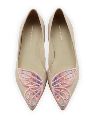 Bibi Butterfly Embroidered Flat, Nude