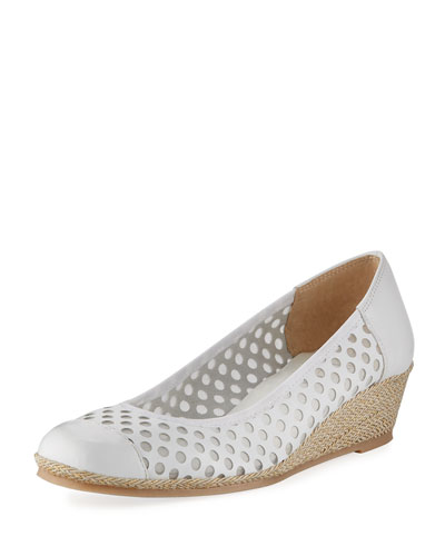 Mabyn Leather Wedge Slip-On Espadrille, White