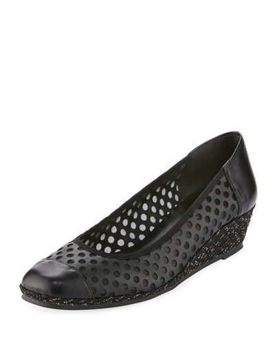 Mabyn Leather Wedge Slip-On Espadrille, Black