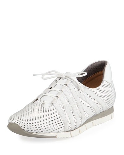 Calais Perforated Napa Leather Sneaker, White