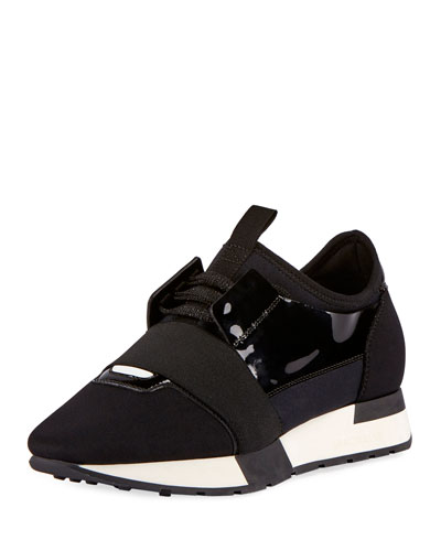 Race Runner Patent-Leather, Mesh And Neoprene Sneakers, Variante Noire
