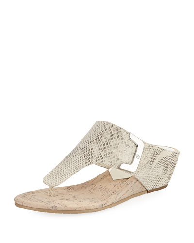 Dart Snake-Embossed Sandal, Light Gray