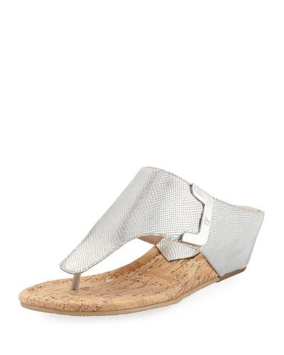 Dart Lizard-Embossed Sandal, Silver
