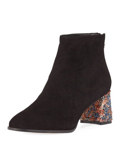 Sam Suede Crystal-Heel Ankle Boot