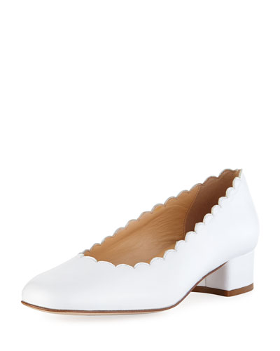 Hali Scalloped Leather Pump, White