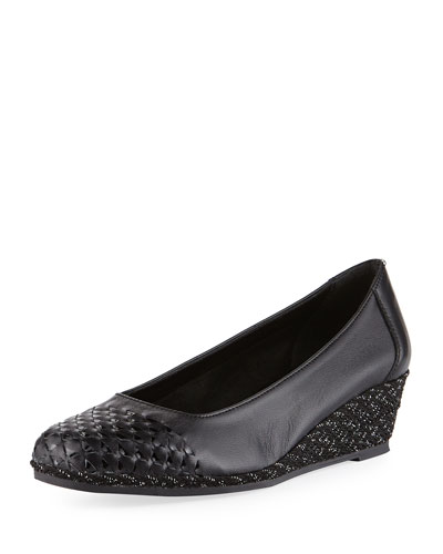 Magaly Woven Slip-On Espadrille Pump, Black