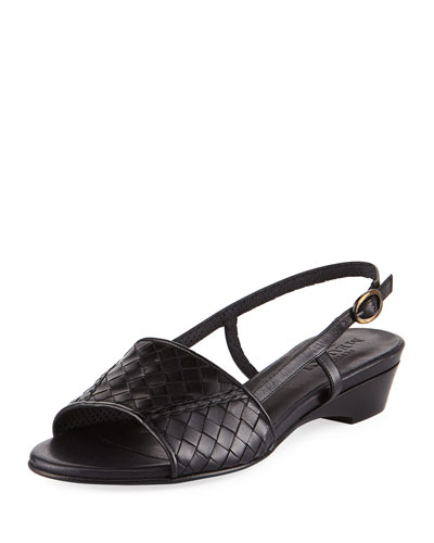 Ginger Woven Leather Slingback Sandal, Black