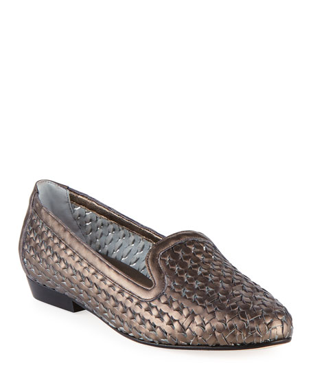 Sesto Meucci Neya Woven Metallic Loafer, Pewter
