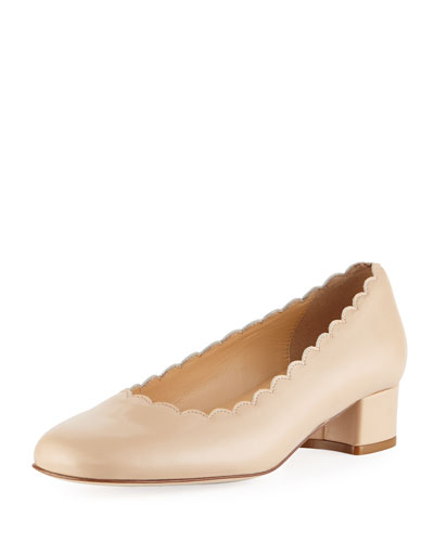 Hali Scalloped Leather Pump, Ecru