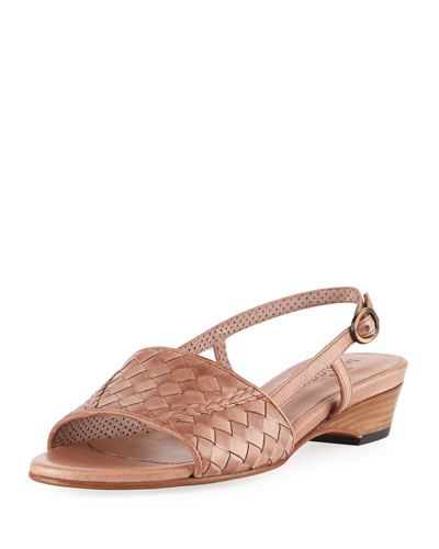 Ginger Woven Leather Slingback Sandal, Neutral