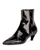 Logo-Print Patent Leather Bootie, Noir (Black)