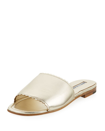 Arcara Metallic Flat Slide Sandal, Gold